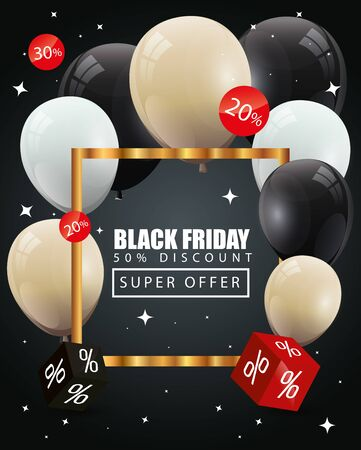 black friday poster and fifty discount with balloons helium decoration vector illustration design 写真素材 - 135480193