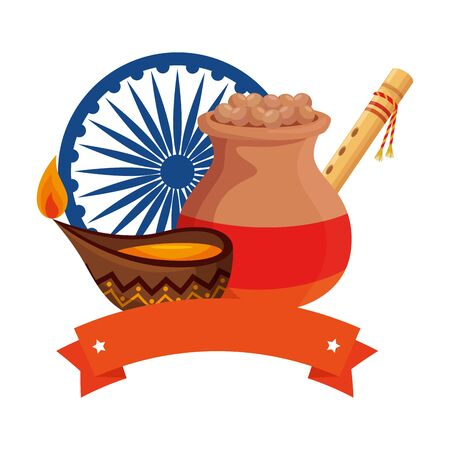 indian ceramic jar with food and decorative icons vector illustration design