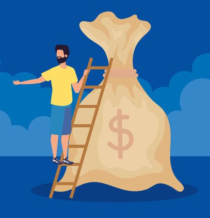 businessman and bag with cash money currency with clouds over blue background, vector illustration