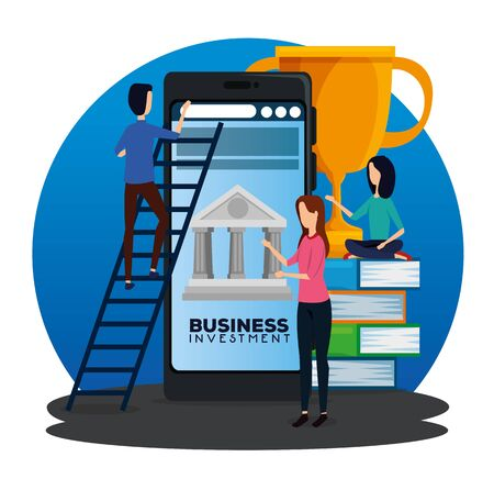 businesswomen and businessman with smarphone and books with prize to office strategy, vector illustration