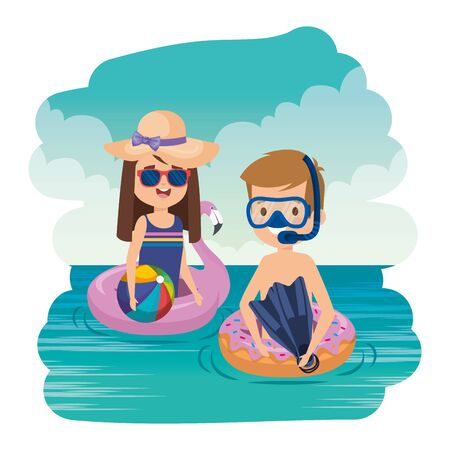 little kids couple with snorkel and balloon on the sea vector illustration design