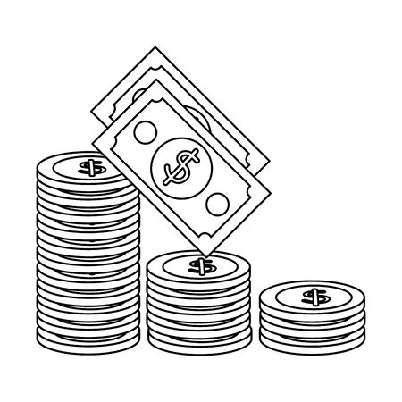 coins and bills money dollars icons vector illustration design