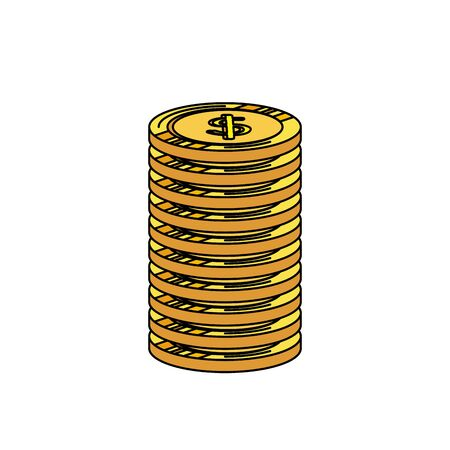 coins money dollars isolated icons vector illustration design 向量圖像