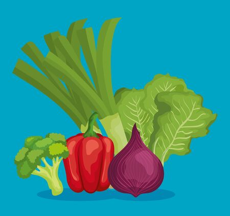 fresh vegetables with healthy nutrition and vitamin over blue background, vector illustration