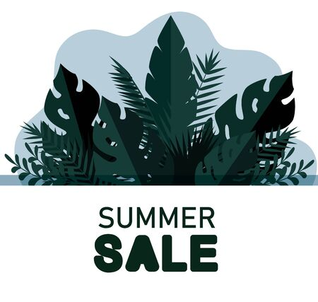 tropical leaves branches plants banner to summer sale vector illustration