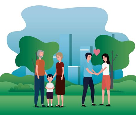 old woman and man couple with ther grandson and his father and mother to family together, vector illustration