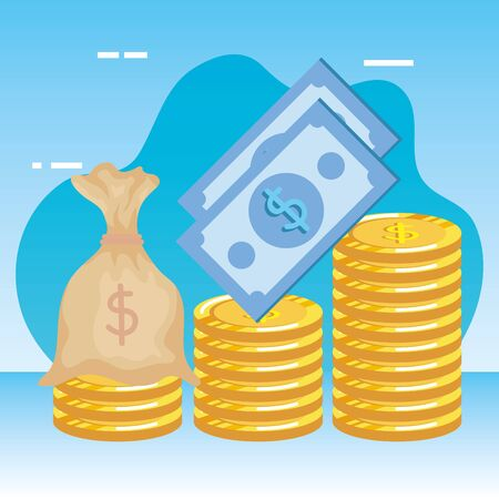 coins and bills money dollars icons vector illustration design 版權商用圖片 - 135482852