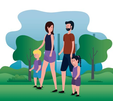 woman and man couple with their daughter and son with trees and mountains, vector illustration