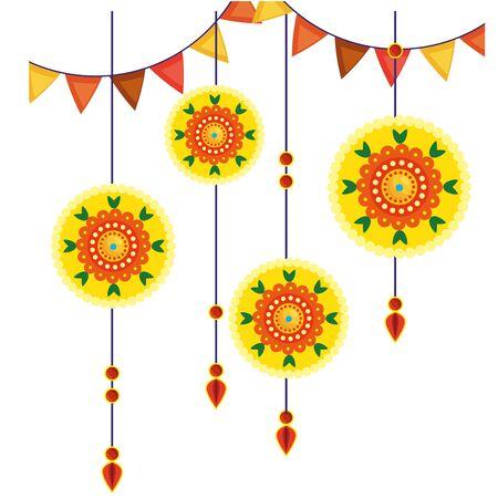 decoratieve mandala's die etnisch vectorillustratieontwerp in boho-stijl hangen