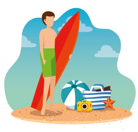 man wearing swimsuit with surfboard and ball with camera to summer time vector illustration Ilustracja