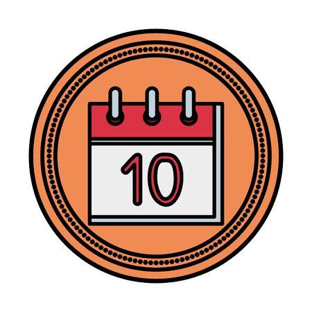 calendar reminder with number ten vector illustration design Illusztráció