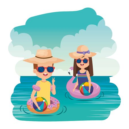 little kids couple with floats and balloons in the sea vector illustration design