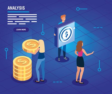 business people with data analysis vector illustration design