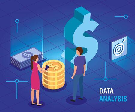 business couple with data analysis vector illustration design Illusztráció
