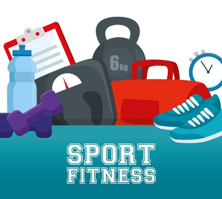 fitness exercise activity with practice sport to healthy lifestyle, vector illustration