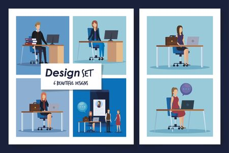 set of six designs business people in the workplace vector illustration design