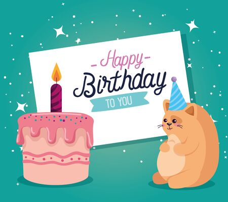card with sweet cake with candle and cat cute animal to happy birthday, vector illustration Illustration