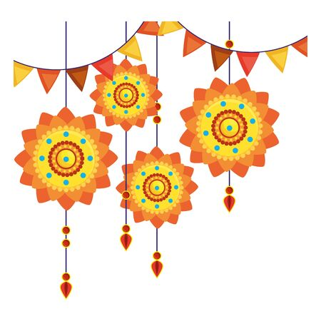 decorative mandalas hanging ethnic boho style vector illustration design