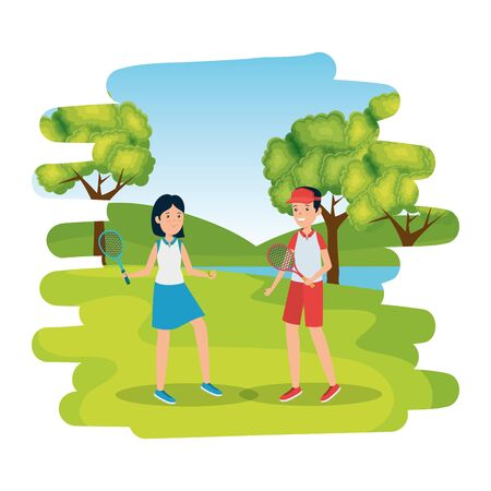 couple with rackets practicing tennis in the camp vector illustration design Stock Vector - 135483456