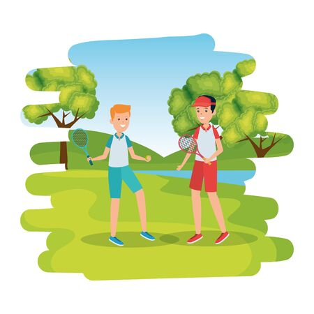 boys with racket practicing tennis in the camp vector illustration design Stock Vector - 135483465