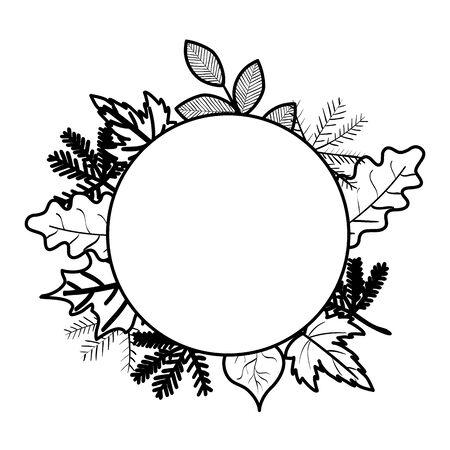 autumn branch and dry maple leafs circular frame vector illustration design Reklamní fotografie - 135484021