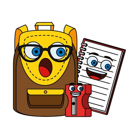 schoolbag with notebook and sharpener kawaii characters vector illustration design