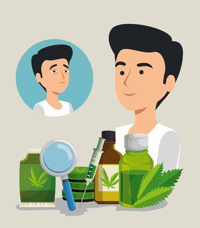 man with cannabis oil bottles and bag seeds with magnifying glass vector illustration