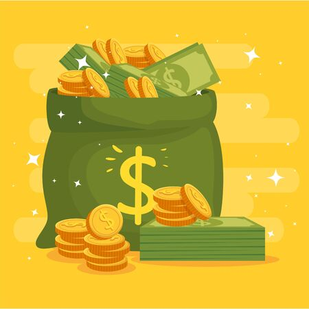 money bag with coins and bills vector illustration design 版權商用圖片 - 135483529