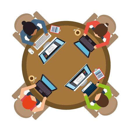 team workers using computers in the workplace vector illustration design