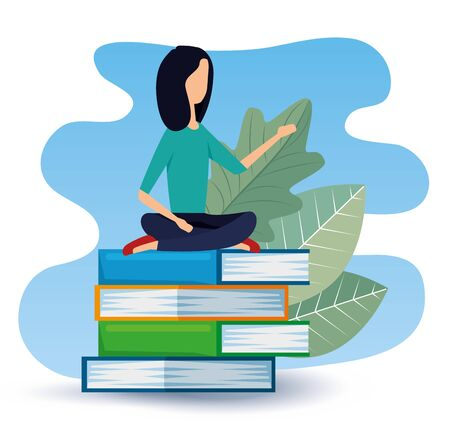 businesswoman sitting in the books with leaves plants to office strategy, vector illustration