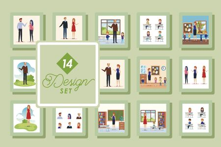 set of fourteen designs with teachers and students vector illustration design