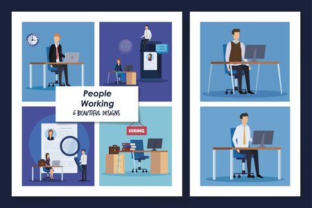 set of six designs people working avatar character vector illustration design