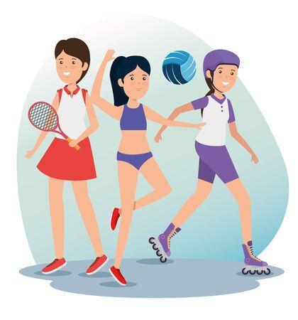 girls training fitness exercise balance to summer sport vector illustration