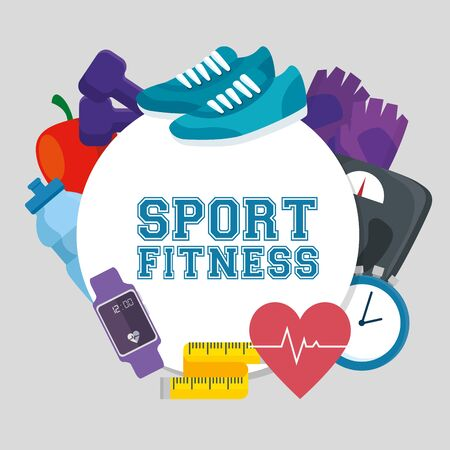 label of fitness sport athlete exercise acivity to healthy lifestyle, vector illustration