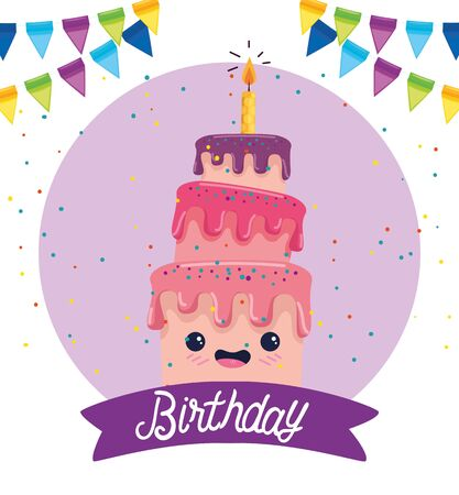 sweet cake with candle and ribbon decoration to happy bothday, vector illustration Illusztráció