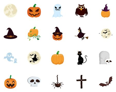 bundle halloween with set icons vector illustration design