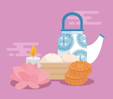 watering can with flower and candle with food to mid autumn festival, vector illustration Ilustracja