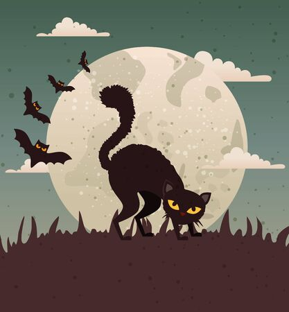 Halloween design with black cat and moon, , vector illustration design Ilustrace