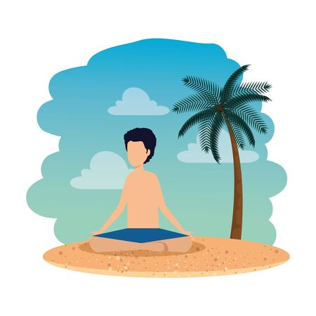 young man with swimsuit practicing yoga on the beach vector illustration design