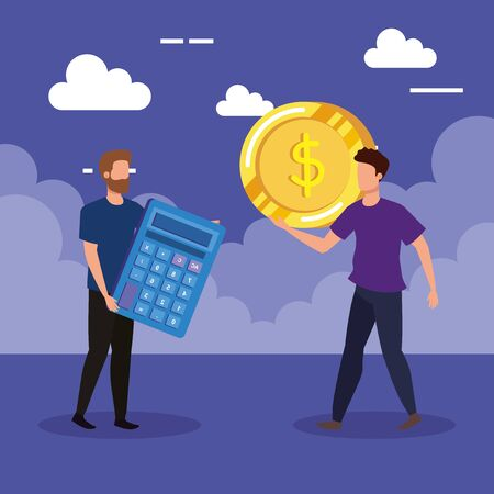 businessmen with calcutor report and coin cash money over purple background, vector illustration