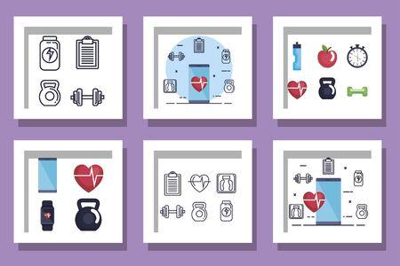 bundle of fitness set icons vector illustration design Stockfoto - 135485729