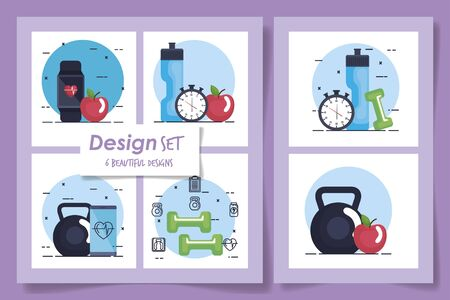 six designs of fitness and set icons vector illustration design Stockfoto - 135485739