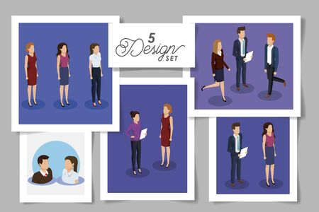 set five designs of business people vector illustration design Illustration