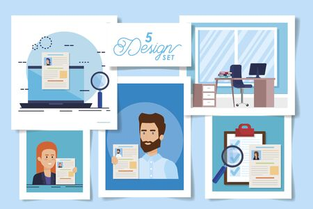 five designs of hiring with people and set icons vector illustration design