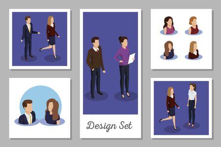 bundle of designs business people vector illustration design
