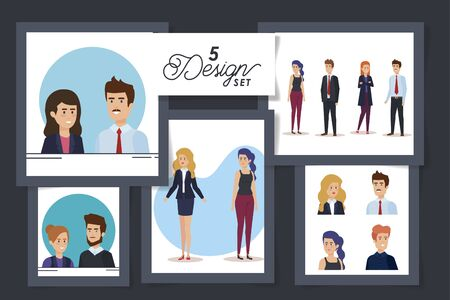 five designs of business people avatar character vector illustration design
