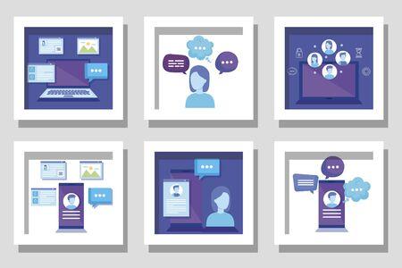 bundle of business set icons vector illustration design Illustration