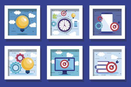 bundle of teamwork set icons vector illustration design