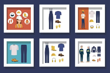 bundle of workers with uniforms and personal protection elements vector illustration design Vectores
