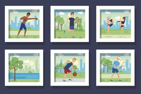 bundle of people practicing exercise vector illustration design Stockfoto - 135491177